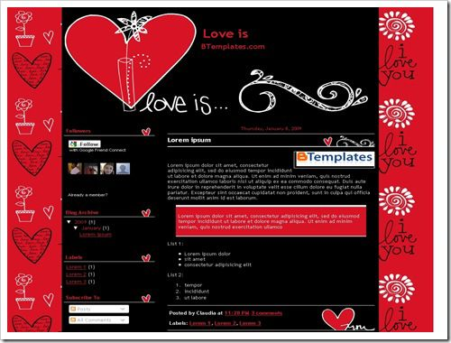 LoveisBloggerTemplate thumb 16 Best Free Valentine Blogger Templates
