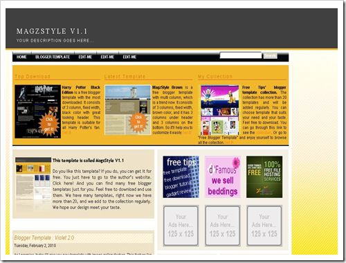 MagzStyleV1.1BloggerTemplate thumb 30+ Best Magazine Style Blogger Templates of 2010