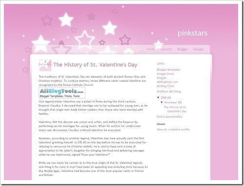 Pink Valentine Blogger Template
