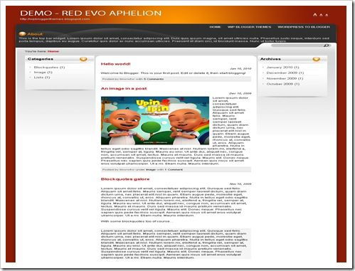 Red Evo Aphelion Blogger Template