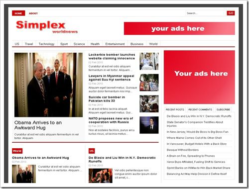 Simplex WorldNews Blogger Template