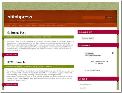 Stitchpress Blogger Template