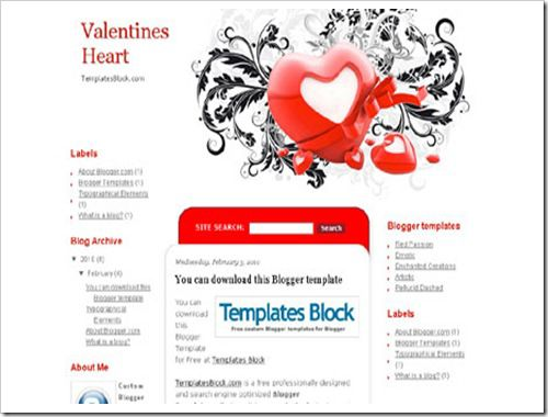Valentines Heart Blogger Template