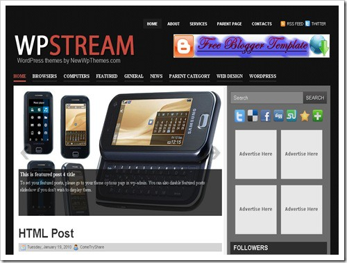 WPStreamBloggerTemplate thumb 30+ Best Magazine Style Blogger Templates of 2010
