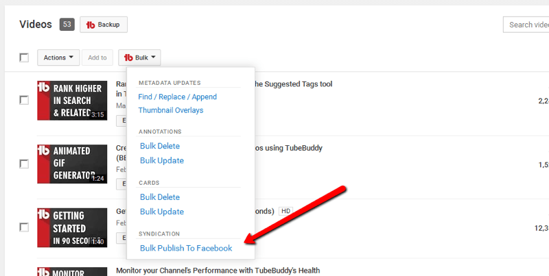 bulk publish youtube videos to Facebook