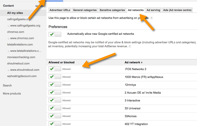 Adsense Implemented Multiple ad networks