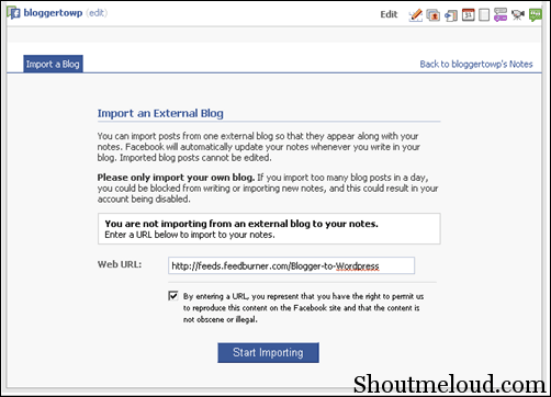 bloggertowordpress thumb Facebook Notes: How to Auto Publish Blogger to Facebook