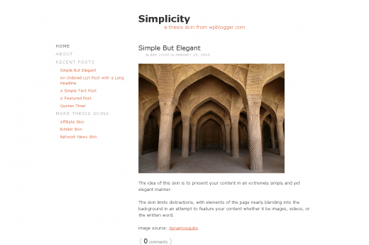 simplicity 520x345 16 Best and Free Thesis Skins For Thesis Theme