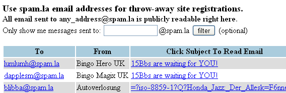 spamla Best Free Disposable Email Providers List