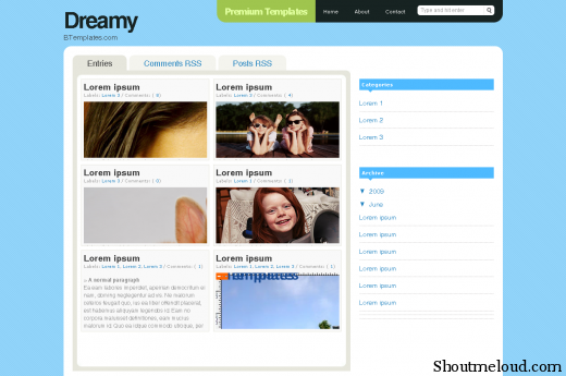 Aviary dreamy2 btemplates blogspot com Picture 1 520x345 Best Free and Professional Photo blog Templates for Blogspot