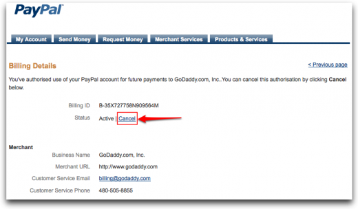Billing Agreement Details PayPal 520x304