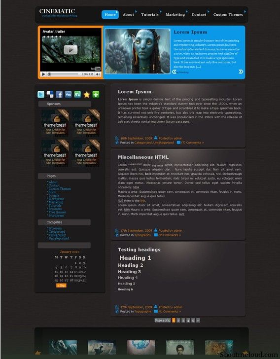 Cinematic Free Theme1 7 Wonderful & Free WordPress Video Themes