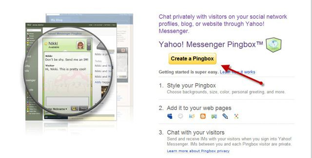 Create PingBox How to Add Yahoo Chat box Into your Blog : PingBox
