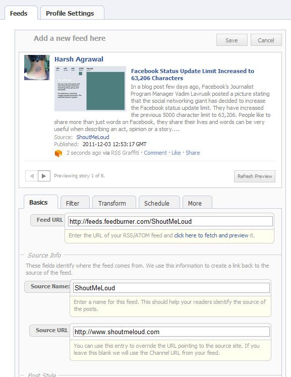 Publish Blog feed to Facebook