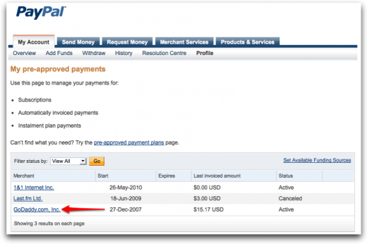Recurring payments dashboard PayPal 520x346 How to Cancel PayPal Billing Agreement or Automatic Renewal