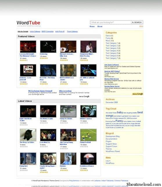 Word Tube Free Theme. jpg 7 Wonderful & Free WordPress Video Themes