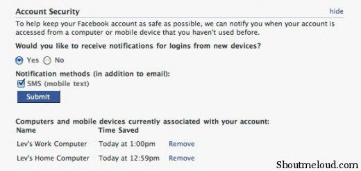 facebook account security 520x246 Facebook: New Facebook Login Account Security Settings