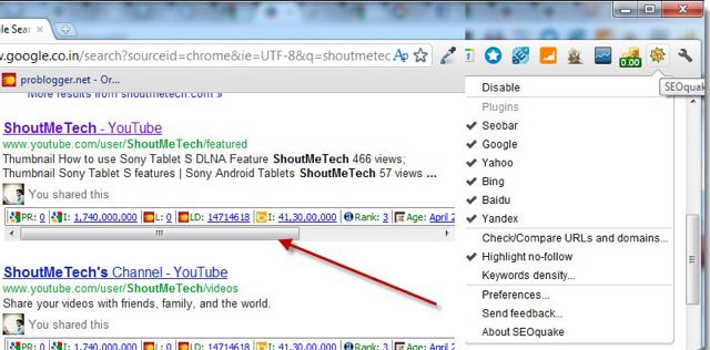 SEOQuake Chrome Extension 5 Google Chrome SEO Extension for Bloggers