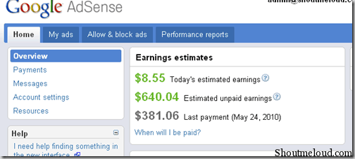 adsenseinterface thumb Shoutmeloud Review on New Google Adsense Interface