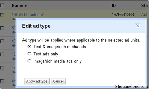editadtype thumb Shoutmeloud Review on New Google Adsense Interface