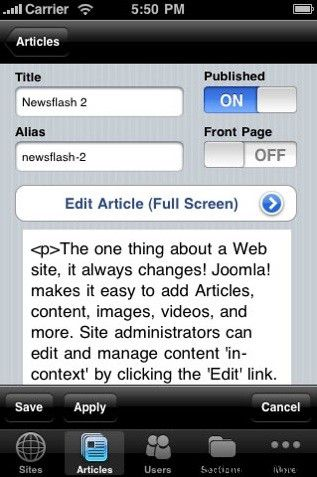 IBT Joomla 10 Popular Blogging iPhone Applications