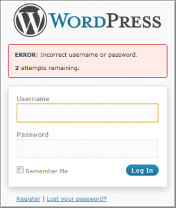 wordpress Limit Login Attempts login page