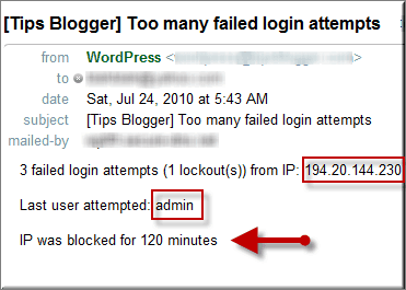 wordpress Limit Login Attempts email screenshot