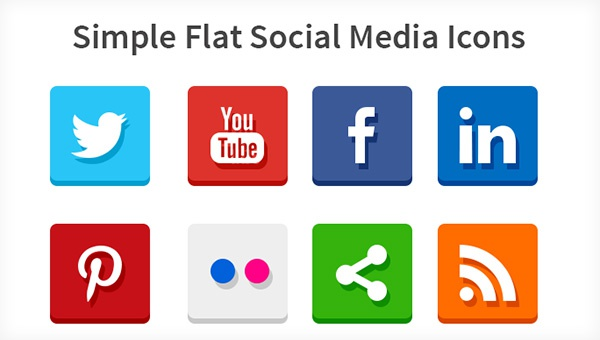 simple flat social media icons Popular Free Social Media icons Set to Spice Your Design