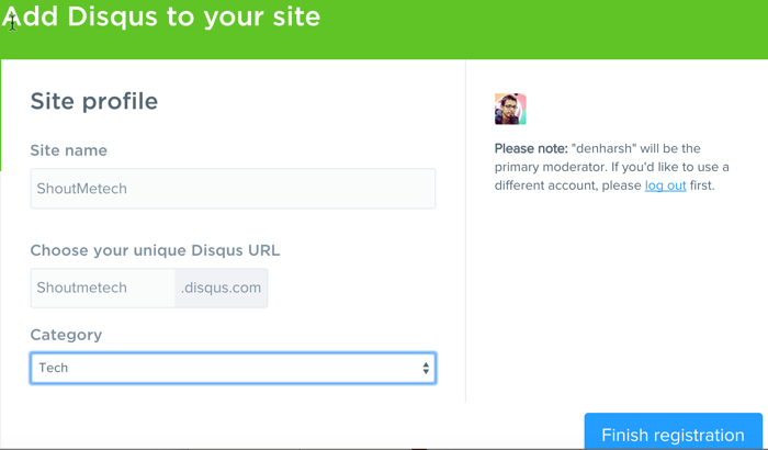Create DISQUS Profile