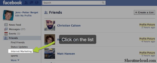 FacebookNewsfeed3 How to Use Facebook List Feature