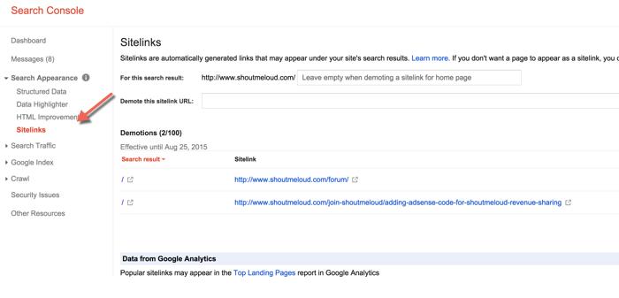 Manage Google Sitelinks