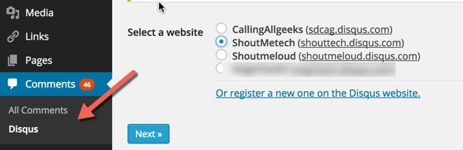 Select DISQUS Website