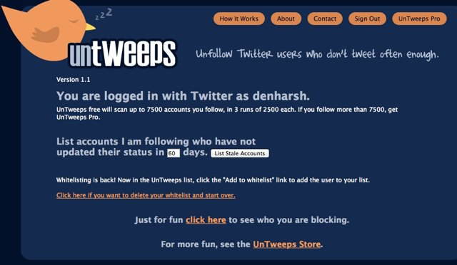 Untweetps Unfollow Inactive users