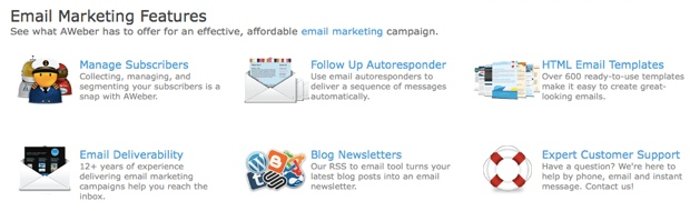 Aweber Email marketing features