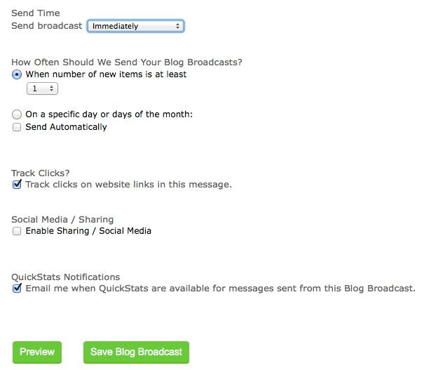 Aweber RSS feed settings