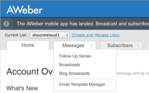 Aweber blog broadcasts feature