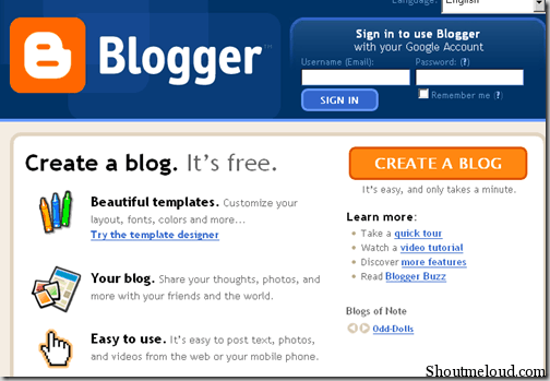 How to Create a Free Blog using BlogSpot.com