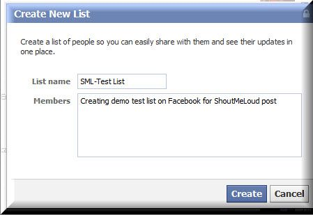 Creating Facebook List