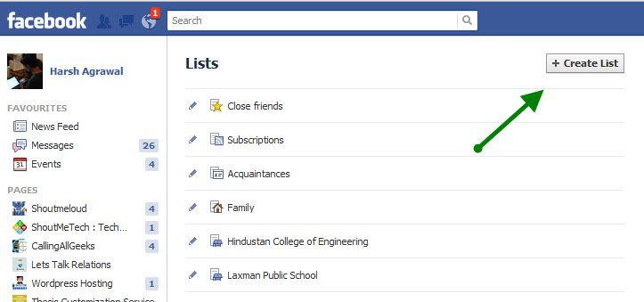 Facebook List settings