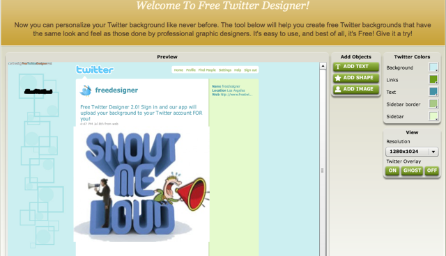 Twitter background creator