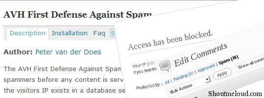 avh defense spam plugin AVH First Defense Against Spam WordPress plugin