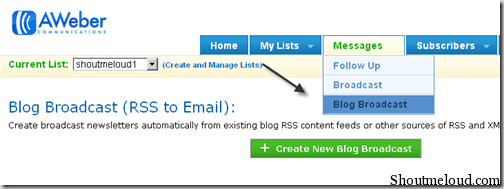blogbroadcastaweber thumb How to Send Feedburner RSS Update to Aweber Mailing List