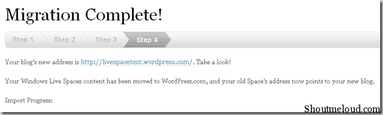 migrationcomplete thumb How to Migrate from Windows Live Space to WordPress.com