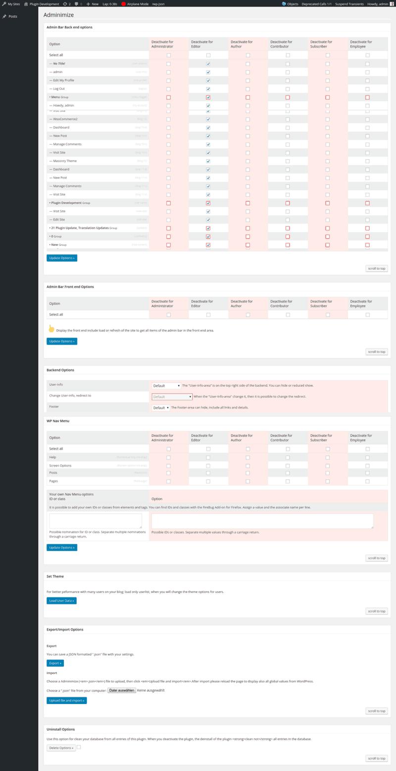Adminize WordPress plugin