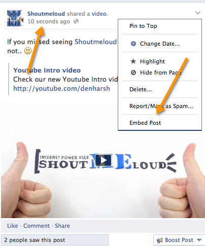 Facebook video share option