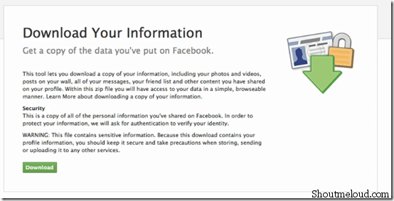 downloadyourinformation thumb Facebook Download Information Feature Launched