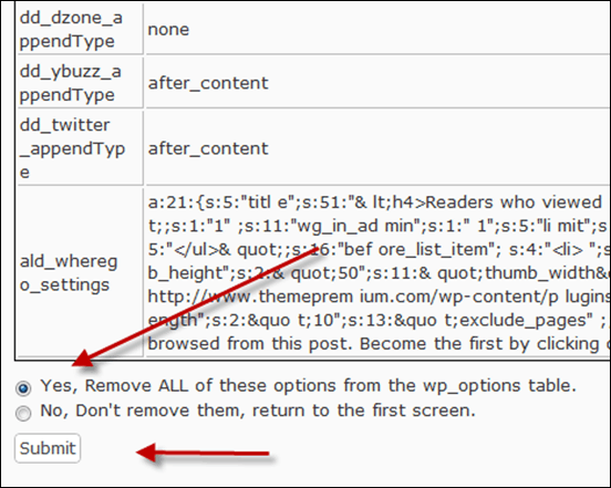 submitoption thumb Clean Options WordPress Plugin: Delete Orphan Tables from Database