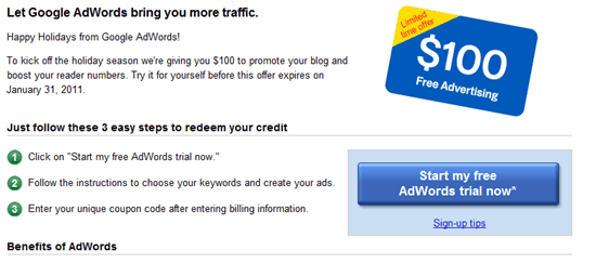 Google Free $100 Adwords Credit for Bloggers