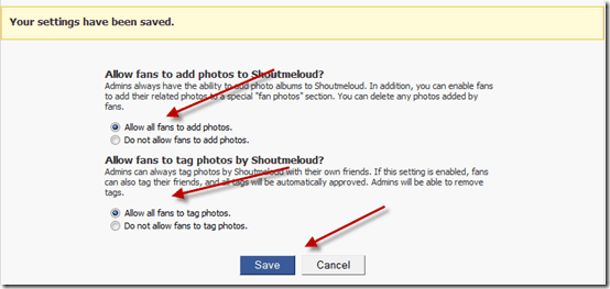 enable Photo tagging on Facebook page