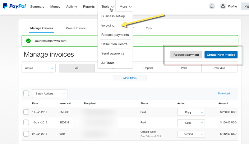 Create Invoice PayPal